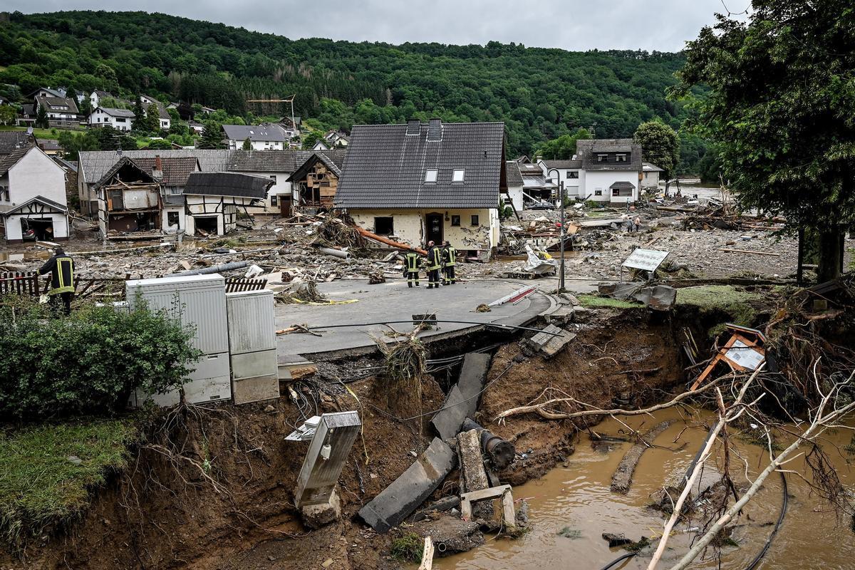 La población alemana de Schuld, en el distrito de Ahreweiler, gravemente dañada tras las fuertes lluvias y las inundaciones.