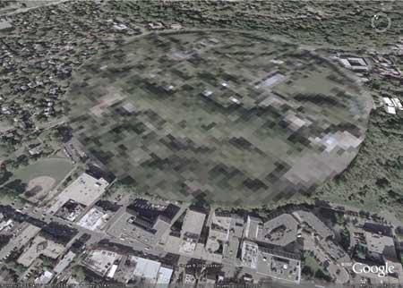 En Washington, una pequeña extensión de terreno en mitad de la ciudad queda oculta tras una silueta difuminada, mostrando un bajo nivel de detalle que impide ver lo que es.