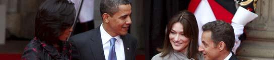 Los Obama y los Sarkozy, en Estrasburgo.