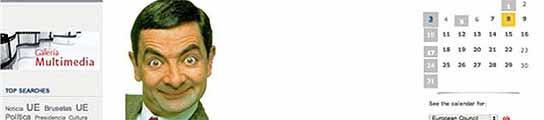 Mr Bean saluda a los internautas en la web de la presidencia española de la UE  (Imagen: 20MINUTOS)