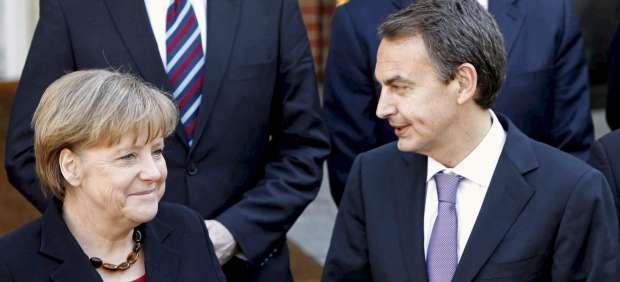 José Luis Rodríguez Zapatero y Angela Merkel