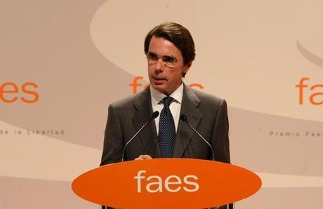 L'excap de l'Executiu José María Aznar, en un acte de la FAES, que presideix, el 24 d'octubre a Madrid. DAVID CASTRO