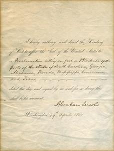 El documento firmado por Abraham Lincoln ordenando el bloqueo de puertos.