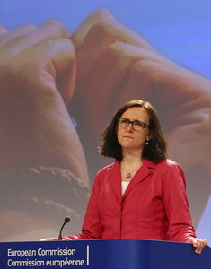 La comisaria europea de Interior, Cecilia Malmström, durante la rueda de prensa de este lunes.