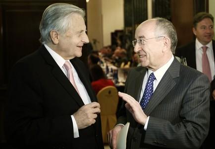 Trichet y Fernández Ordóñez, en un encuentro en Madrid, hoy.