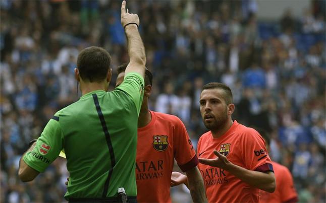 Jordi Alba no se creía la expulsión