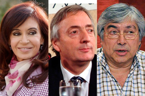 Cristina Fernández de Kirchner, su difunto esposo y el empresario Báez.