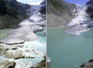 El deshielo en apenas diez años (1991-2001) del glaciar Triftgletscher, en los Alpes suizos, muestra como el actual cambio climático puede llegar a ser aún más brusco. (Jürg Alean)