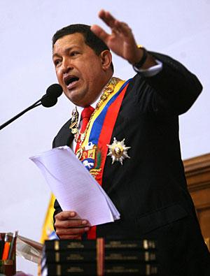 El presidente venezolano, Hugo Chávez, ante la Asamblea Nacional de Venezuela. EFE