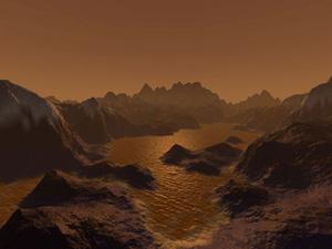 Recreación art�stica de cómo podr�an ser los lagos de hidrocarburos sobre la superficie de Titán. (Ilustración: NASA)