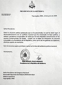 Carta falsa de renuncia del presidente Zelaya. | Efe