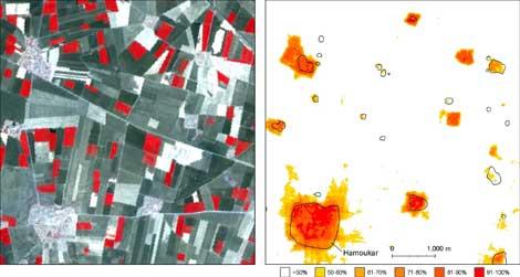 A la izquierda, imagen del ASTER marcando zonas ocupadas en la Edad de Bronce; a la derecha, recreación de estos asentamientos.   PNAS