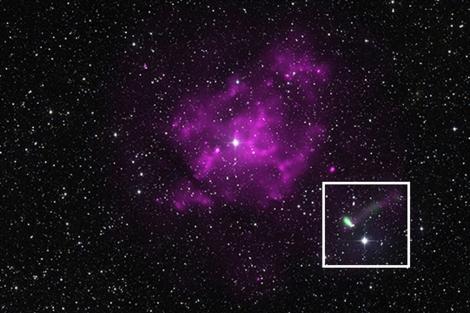 La estrella de neutrones J11014 (en el cuadro blanco) | NASA