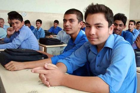 Los alumnos del curso décimo del instituto Habibia, en Kabul. | Mónica Bernabé