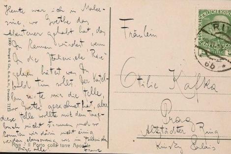 Una postal que Kafka envió a su hermana.| Efe