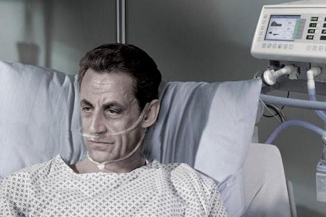 Campaña a favor de la 'muerte digna' en la que se utilizó la imagen de Nicolas Sarkozy.   Afp