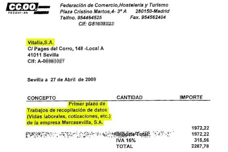 Una de las facturas que aparecen en el sumario de los ERE.