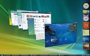 Imagen de un escritorio con el entorno 'aero' de windows Vista. (Foto: Microsoft)