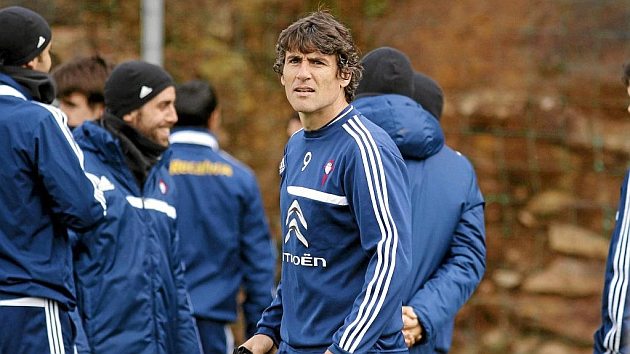 Bermejo, durante un entrenamiento con el Celta la temporada pasada. Foto: Jorge Landín