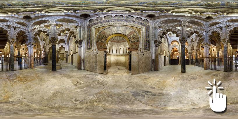 Pinche en la imagen para poder navegar libremente por ésta y otras 13 panorámicas de 360º de la Mezquita de Córdoba.