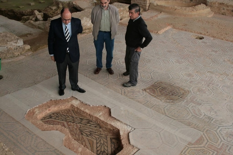 Imagen de parte del mosaico hallado en La Olmeda.