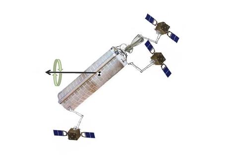 Esquema del satélite y sus brazos robóticos. | SpaceTech12-System E. Data Package.