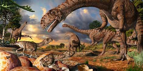 Recreación de dinosaurios adultos y crías saliendo del cascarón. | J. Csotonyi