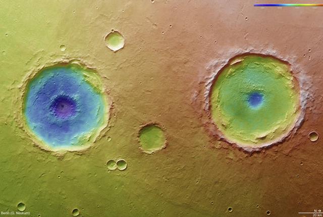 Imagen de los cráteres gemelos 'Arima', en Marte. | ESA