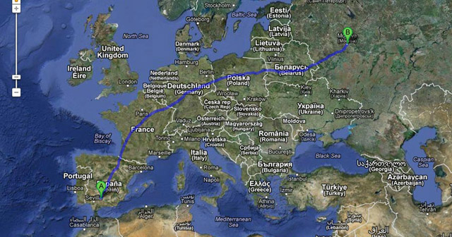 Imagen de la distancia entre Córdoba y Moscú
