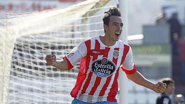 Caballero celebra un gol con el Lugo durante un partido de la presente temporada / Pedro Agrelo (Marca)