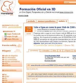 Menéame (en la imagen), y Fresqui, han sido lo mejor de 2006 para los lectores de El Catalejo.
