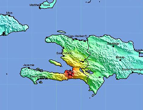 El mapa muestra el epicentro del seísmo que sacudió Haití el lunes. | US Geological Survey.