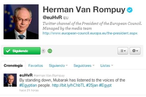 Captura del perfil en Twitter de Herman Van Rompuy.