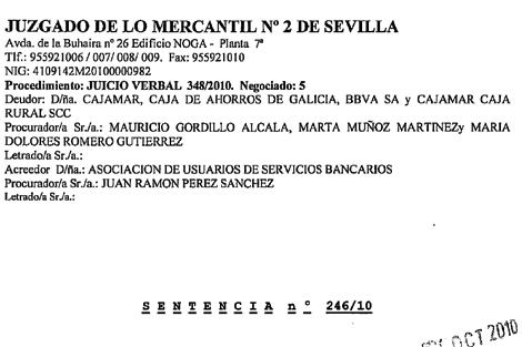 Extracto de la sentencia del Juzgado nº 2 de Sevilla.