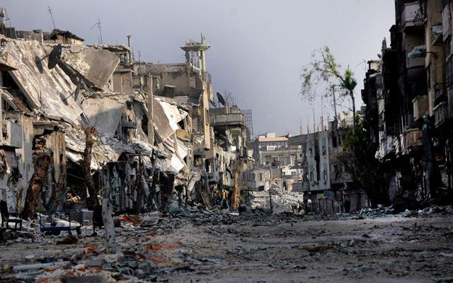 Una zona destruida en el área Al Karbise, en la provincia de Homs. | Efe