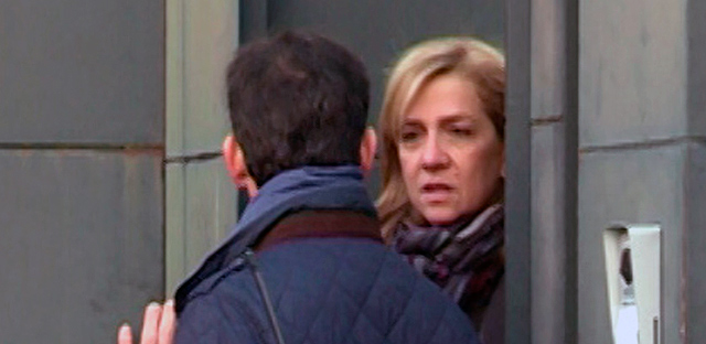 Primera imagen de la Infanta tras conocer la imputación de Revenga. | Europa Press