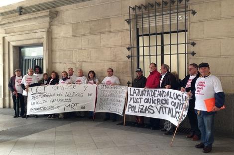 Protesta de los ex trabajadores de Minas de Riotinto. | S.T.