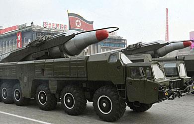 Misiles Musudan durante un desfile militar en Pyongyang. | Efe