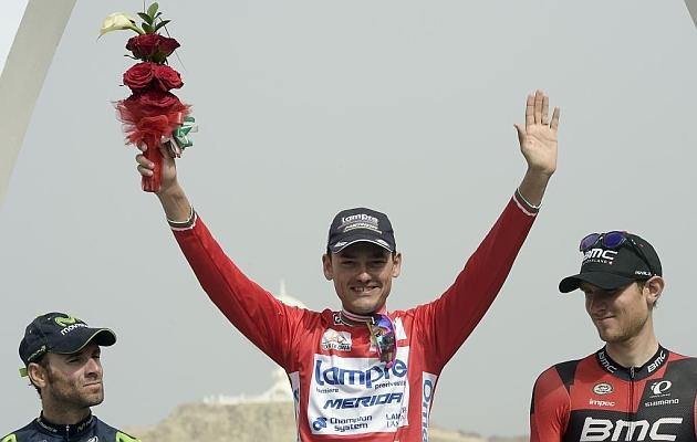 Valverde, Valls y Van Garderen, en el podio final del Tour de Omán 2015.