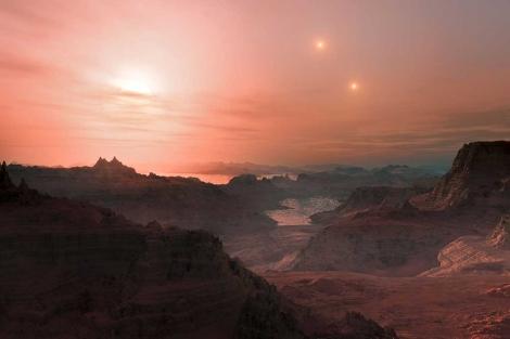 Recreación artística de un atardecer en la súper-Tierra 'Gliese 667 Cc'.   ESO