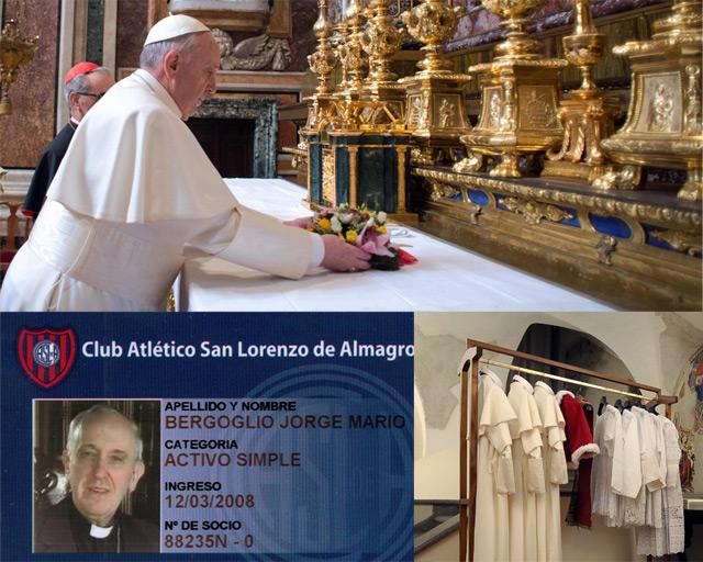 Francisco I, el vestuario papal y su carnet de 'hincha' de fútbol.| Afp/Efe/Reuters