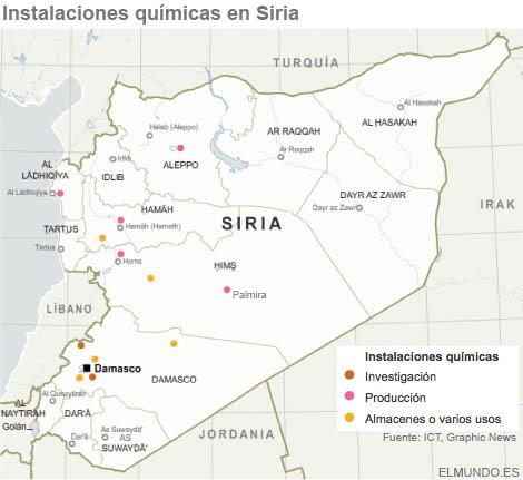 Lugares en los que se cree que está el arsenal químico sirio. VEA EL GRÁFICO