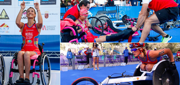 Eva Moral disputando un triatlón tras el accidente. FOTO: José Manuel Martín / www.jomamaramiphotos.com