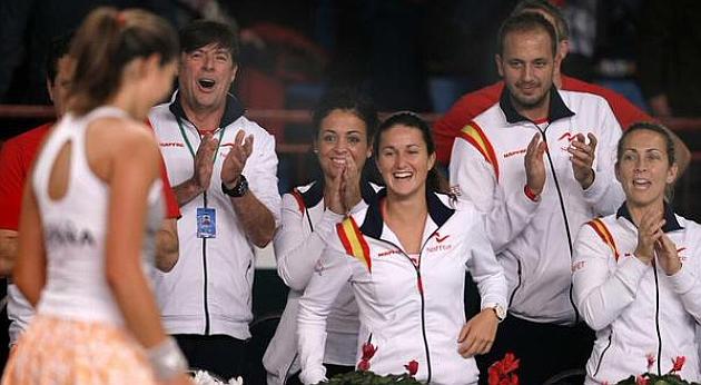 El equipo español en la pasada eliminatoria de la Copa Federación. Foto: Twitter
