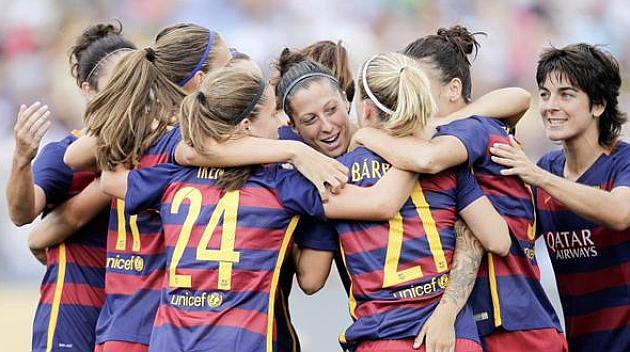 El Barcelona celebra un gol de Jenni Hermoso.