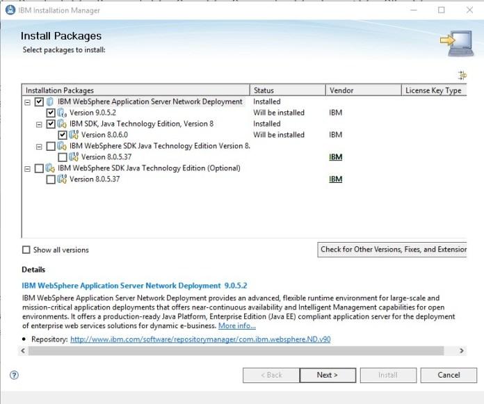 IBM Installation Manager, WAS, Esta Tuani