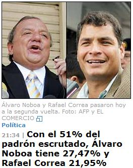 Álvaro Noboa y Rafael Correa