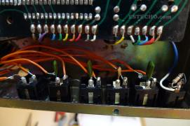 Output jacks after modification. Notice the caps that were taken from the voice board.