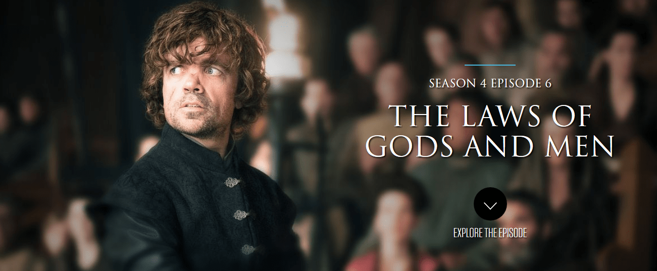 """Game of Thrones """"The Laws of Gods and Men"""" – TV Recap – Season 4 EP"""