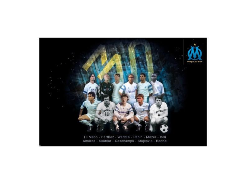 carte postale dream team Olympique de Marseille